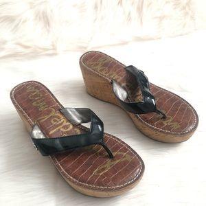 Sam Edelman Black Wedge Sandals Size 6.5 Romy